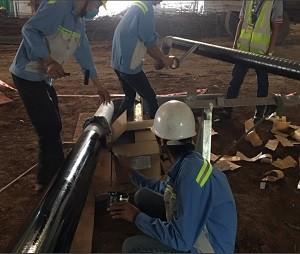 Bọc ống PCCC ngầm tại NM Thủy Tinh Thể - KCN Cao Quận 9 - Tp HCM
